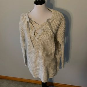aerie Oversized Wool Lace up Sweater size S